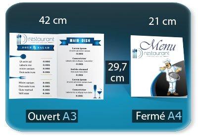 creation carte restaurant Menu restaurant 2 volets  - A4 21 X 29,7 Cm fermé - A3 29,7 X 42 Cm ouvert - 1 pli (rainage) - impression recto verso