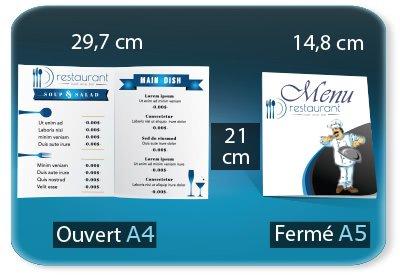 creation carte restaurant Menu restaurant 2 volets  - A5 148x210mm fermé - A4 297x210mm ouvert - 1 pli (rainage) - impression recto verso