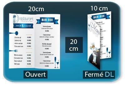 creation carte restaurant Menu restaurant 2 volets  - DL 10 X 20 Cm fermé - carré 20x20 Cm ouvert - 1 pli (rainage) - Impression recto verso