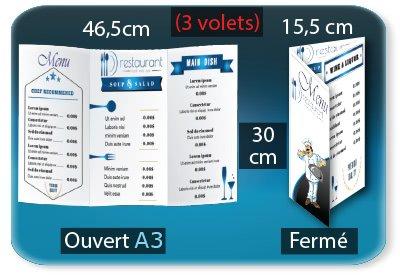 creation carte restaurant Menu restaurant 3 volets  - 15,5 X 30 Cm fermé - 46,5 X 30 Cm ouvert - 2 plis roulés (rainages) - Impression recto verso
