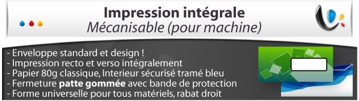 Enveloppes Mecanisable Spéciale impression intégrale, , Fermeture Patte gommée, Forme universelle pour tous matériels
