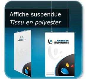 affichettes association Poster textile à suspendre - structure Aluminium - avec oeillets plastiques positionnable