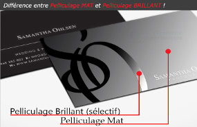 1 Carte De Visite Imprime 2 Difference Pelliculage Mat Brillant