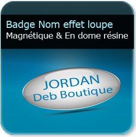 impression Badge personnalisé avec prénom ou nominatif en dome résine 4,3mm effet loupe, fixation barre aimanté