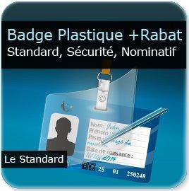 impression Badge de sécurité plastique d'entreprise + zone écriture stylo + rabat plastique adhésif