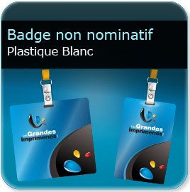 impression Badge plastique Polyester Blanc 0,65 mm brillant miroir