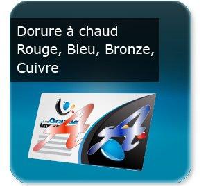 carton invitation personnalisé Dorure or, argent, cuivre, bleu, rouge et bronze
