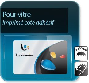Autocollant & Étiquette Etiquette pour vitre (vitrophanie, imprimé coté adhésif, coté collage)