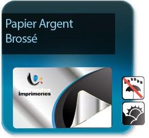 Autocollant & Étiquette Etiquette papier argent brossé + pelliculage brillant