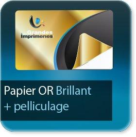 Autocollant & Étiquette Papier Or brillant + pelliculage