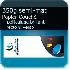 marque page plastifiée 350g mat + pelliculage brillant recto verso
