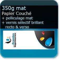 marque page noir et blanc 350g mat + pelliculage mat + vernis sélectif R°/V°