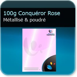 imprimeur d en tete 100g Conquéror métallisé Rose Poudré - Compatible imprimante laser & jet d'encre
