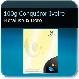 impression en tete page 100g Conquéror métallisé Ivoire Doré - Compatible imprimante laser & jet d'encre