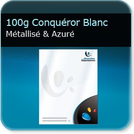 en tete model 100g Conquéror métallisé Blanc Azuré - Compatible imprimante laser & jet d'encre