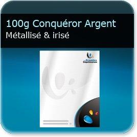 impression d entete 100g Conquéror métallisé Argent Irisé - Compatible imprimante laser & jet d'encre