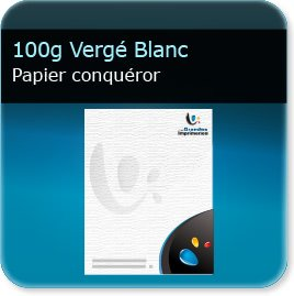 en tete piqué 100g Conquéror Vergé Blanc - Compatible imprimante laser & jet d'encre