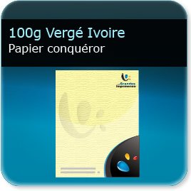 en tete piqué 100g Conquéror Vergé Ivoire - Compatible imprimante laser & jet d'encre