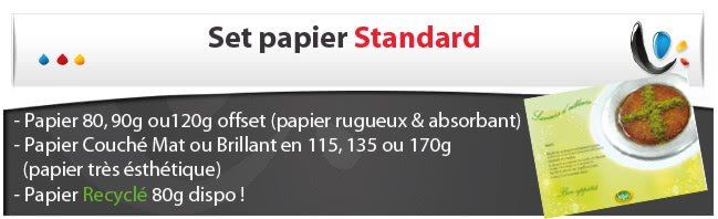 impression sets de table jetable Set en papier STANDARD