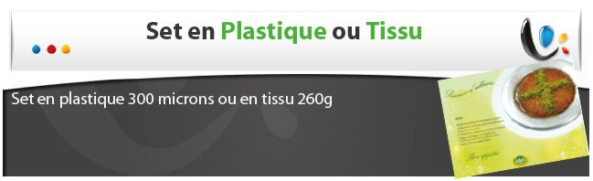 impression sets de table jetable Set de table plastique ou tissu