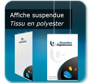 affichette promo Poster textile à suspendre - structure Aluminium - avec oeillets plastiques positionnable