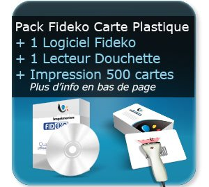 impression Pack FIDECO logiciel + lecteur code barre (douchette) + 500 cartes plastique personnalisée